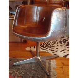Aviation Brown Leather &  Riveted Aluminium Chair