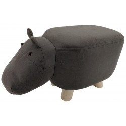 Grey Hippo faux Leather stool / footstool with wooden legs