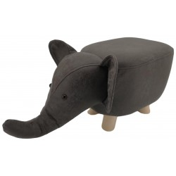 Dark Grey Elephant faux Leather stool / footstool with wooden legs