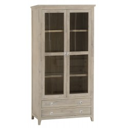 The Bromley Collection: Solid Acacia Wood Display Cabinet with Glass Doors