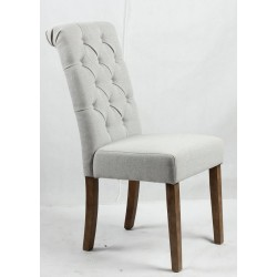 Buttoned backrest upholstered dining chair - light Brown wooden legs