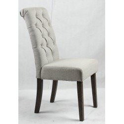 Buttoned backrest upholstered dining chair - dark Brown wooden legs