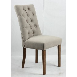 Buttoned and studded backrest upholstered dining chair  - light Brown wooden legs