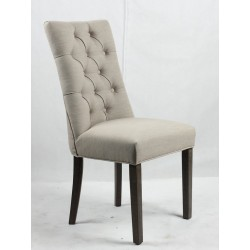 Buttoned and studded backrest upholstered dining chair  - Dark Brown wooden legs