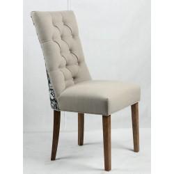 Buttoned backrest upholstered dining chair  - Floral design