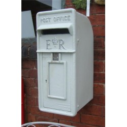 Cast Iron Replica Royal Mail ER White Post Box