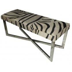 Zebra Stripes Cowhide Leather bench