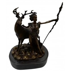 Bronze and Marble sculpture of Diana the Huntress with a Stag