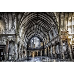 Abandoned Church Tempered Glass Wall Art - 80cm x 120cm