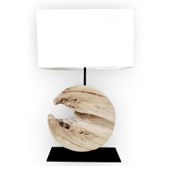 Wooden round base lamp
