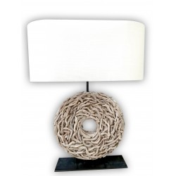 Weaved wooden base lamp