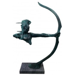Bronze Sculpture of a Huron American Indian with Bow - Verdigris Patina - 72 cm Tall