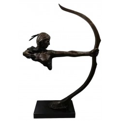 Huge Bronze Sculpture of a Huron American Indian with Bow - 72 cm tall