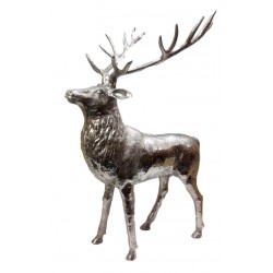 Huge Stag Sculpture - Silver Nickel Plated Aluminium