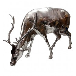 Huge Stag Sculpture - Grazing Stag - Silver Nickel plated Aluminium