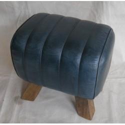 Genuine Blue Leather Stool Pommel Horse Style