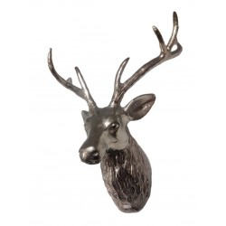 Stag Head Sculpture - Silver Nickel Plated Aluminium - Suitable for Wall Mounting