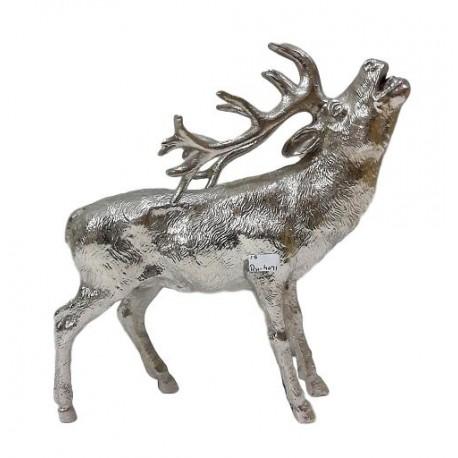 Calling Stag Sculpture - Silver Nickel Plated Aluminium