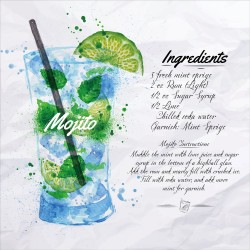 Mojito Cocktail Recipe Tempered Glass Wall Art Picture - 50cm x 50cm
