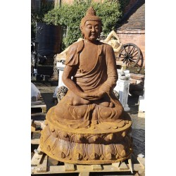 Large Cast Iron Sculpture - Seated Buddha - Rusted Effect