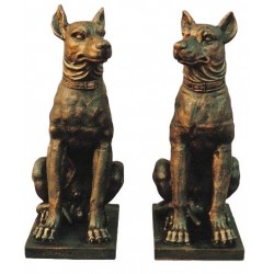 Large Pair of Cast Iron Dog Sculptures - Rusted Effect Finish