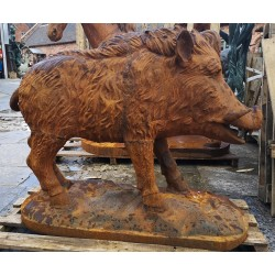 Large Cast Iron Sculpture - WIld Boar - Rusted Effect