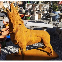 Large Cast Iron Sculpture - Howling Wolf - Rusted Effect
