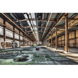 Industrial Abandoned Warehouse Tempered Glass Wall Art - 80cm x 120cm