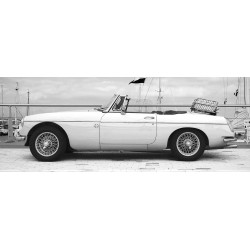 Classic 1960s MGB Sports Car Tempered Glass Wall Art - 60cm x 160cm