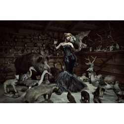 Woman in Taxidermy Scene Tempered Glass Wall Art - 150cm x 100cm