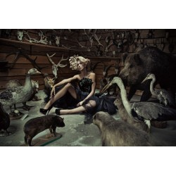 Woman in Taxidermy Scene Tempered Glass Wall Art - 100cm x 150cm