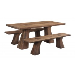 Rodin - Contemporary Solid Acacia Wood Dining Table Set - Table and 2 Benches