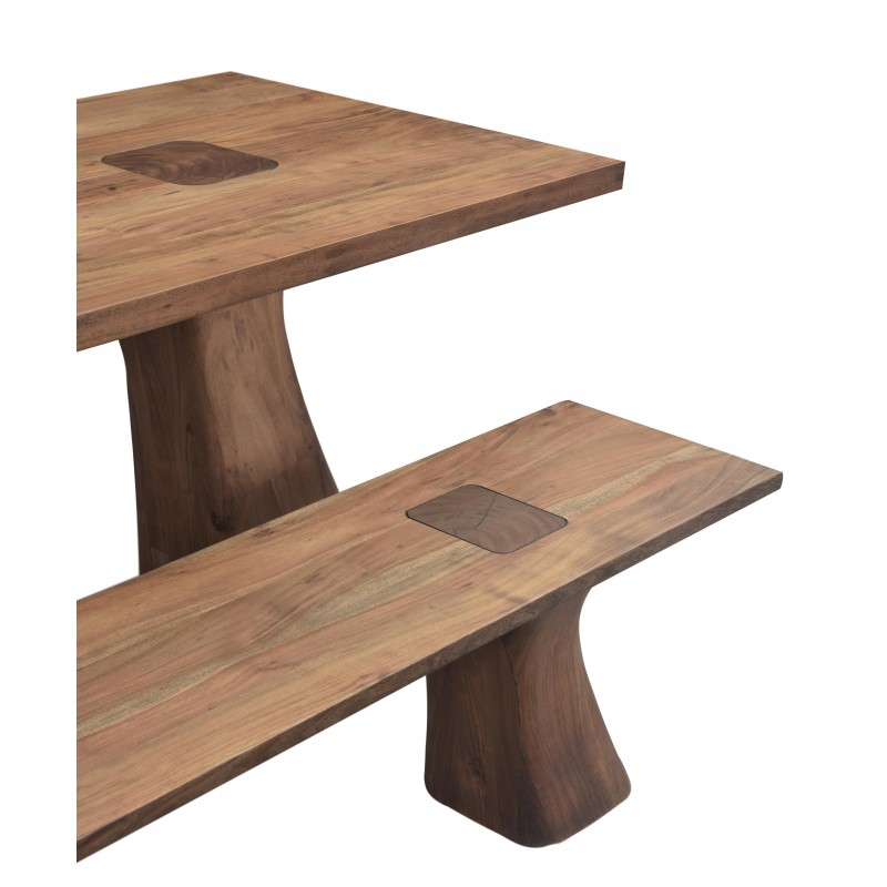 Rodin Contemporary Solid Acacia Wood Dining Table Set Dark Brown