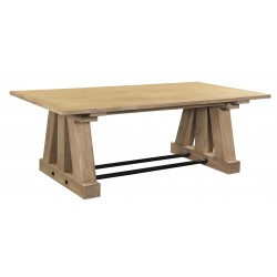 Large Solid Acacia Wood And Iron Dining Table - Boca