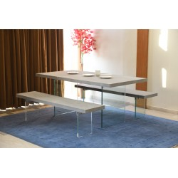 Contemporary Dining Table Set - Concrete Top WIth Glass Legs - 220 cm
