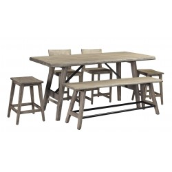 Loft - Contemporary Tall Dining Table Set - Solid Acacia Wood
