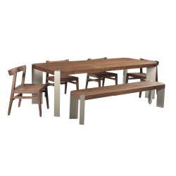 Contemporary Modern Dining Furniture Set - Solid Acacia Wood With Iron Legs - Peak