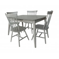 Needwood - Farmhouse Style Extending Dining Table & 4 Chairs - Solid Acacia Wood - Antique Grey