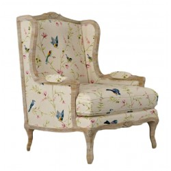French Style Wing Armchair - Cabriolet Legs - Bird & Flower Print Upholstery