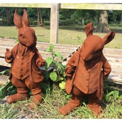 Rabbit and Rat Sculptures - Cast Iron With Rusted Effect - Based on Beartrix Potter Characters