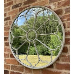 Round Wrought Iron Garden Mirror 80cm