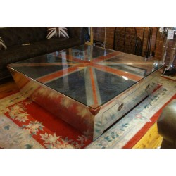 Huge Coffee Table - Aluminium Aviation Style - Leather Union Jack 151cm x 151cm