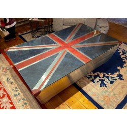 Coffee Table - Aluminium Aviation Style - Leather Union Jack 160cm x 97cm