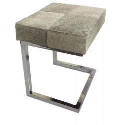 Grey Cowhide & Stainless Steel Stool