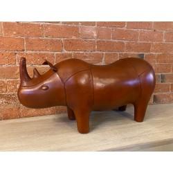 Large Handmade Leather Rhino Footstool