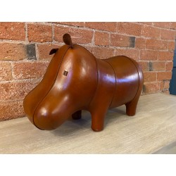 Small Handmade Leather Hippo Footstool