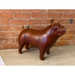 Vintage Style Handmade Genuine Brown Leather Bulldog Footstool