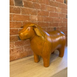 Vintage Style Handmade Genuine Leather Bull Footstool