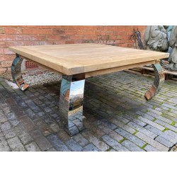 Reclaimed Elm Solid Wood Coffee Table with Stainless Steel Legs - 110cm x 110cm