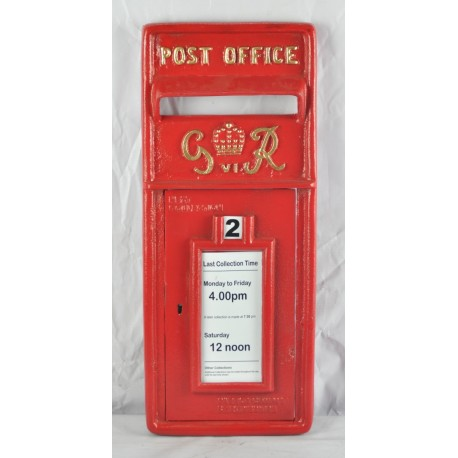 Replica Royal Mail GR Red Post box Letter Box Front Only - Cast Iron - Lockable with Keys
